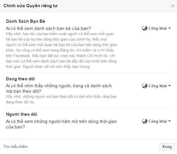 Thay đổi quyền riêng tư trên facebook