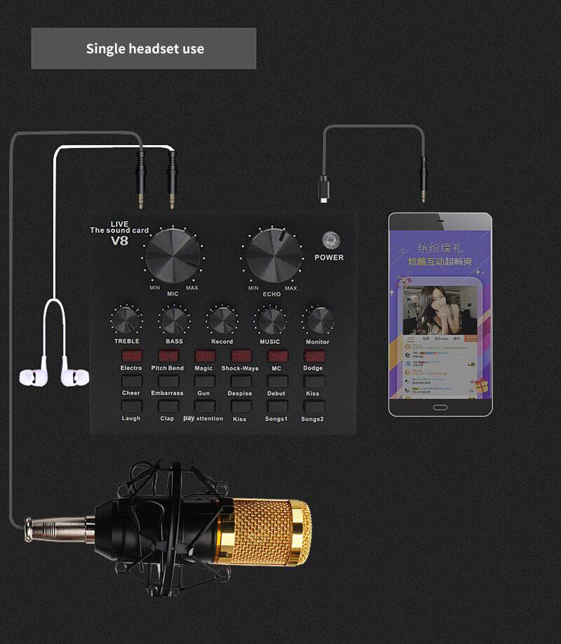 Sơ đồ kết nối điện thoại Sound Card ZANSONG V8