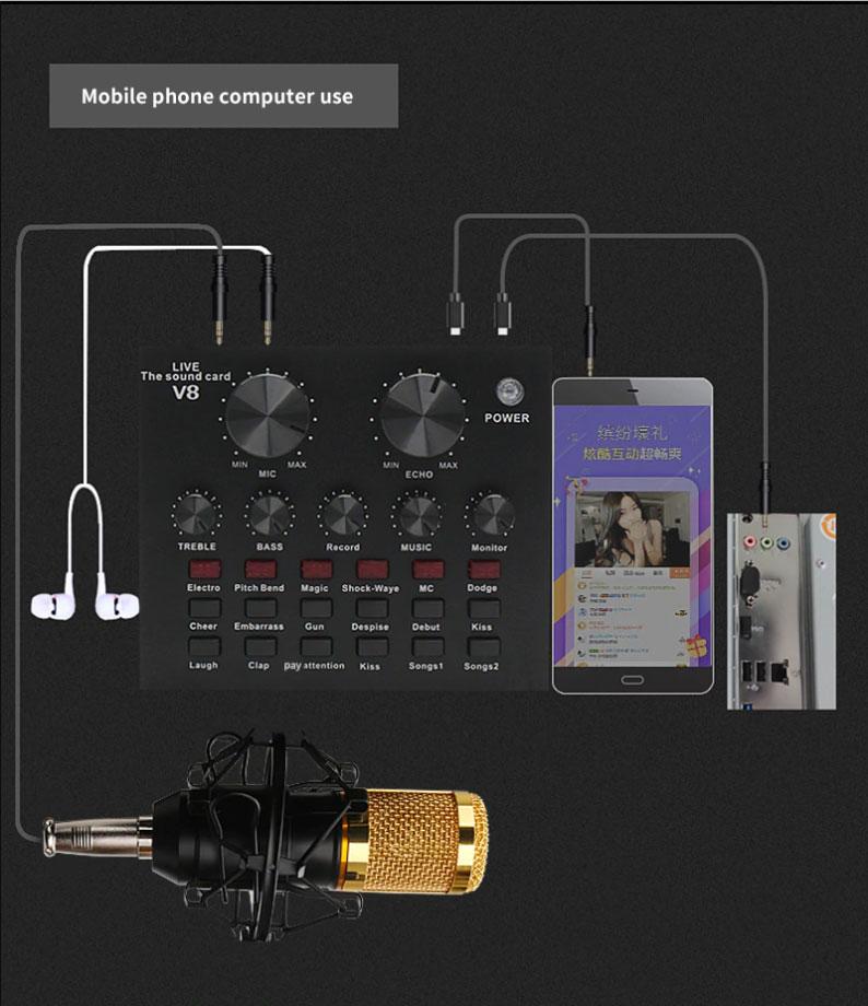 Sơ đồ kết nối điện thoại máy tính Sound Card ZANSONG V8