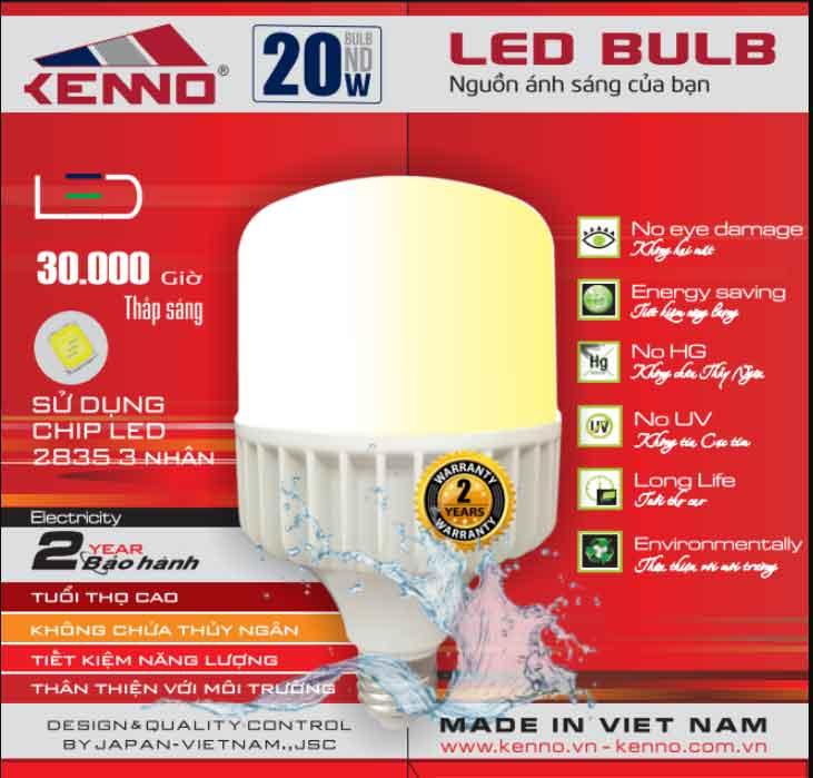 Bóng đèn led bulb 20W kenno