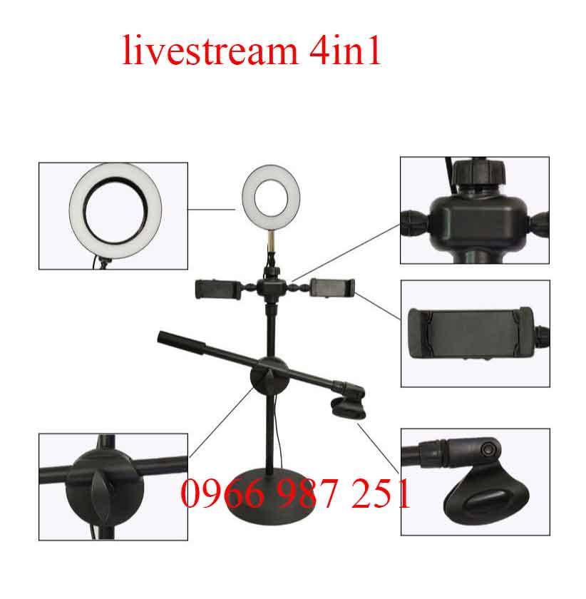 Giá đỡ điện thoại livestream có đèn 4 in 1