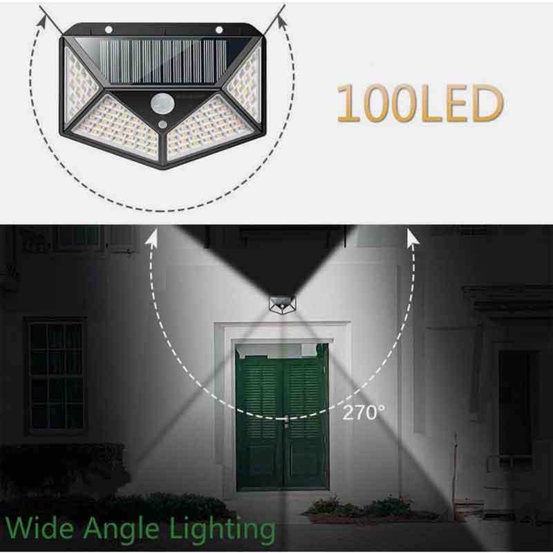 Đèn LED năng lượng mặt trời cảm biến ánh sáng 100 LED