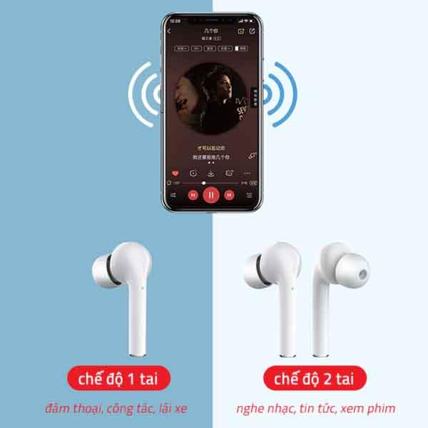 Chế độ nghe 1 tai 2 tai nghe không dây J3 Pro TWS