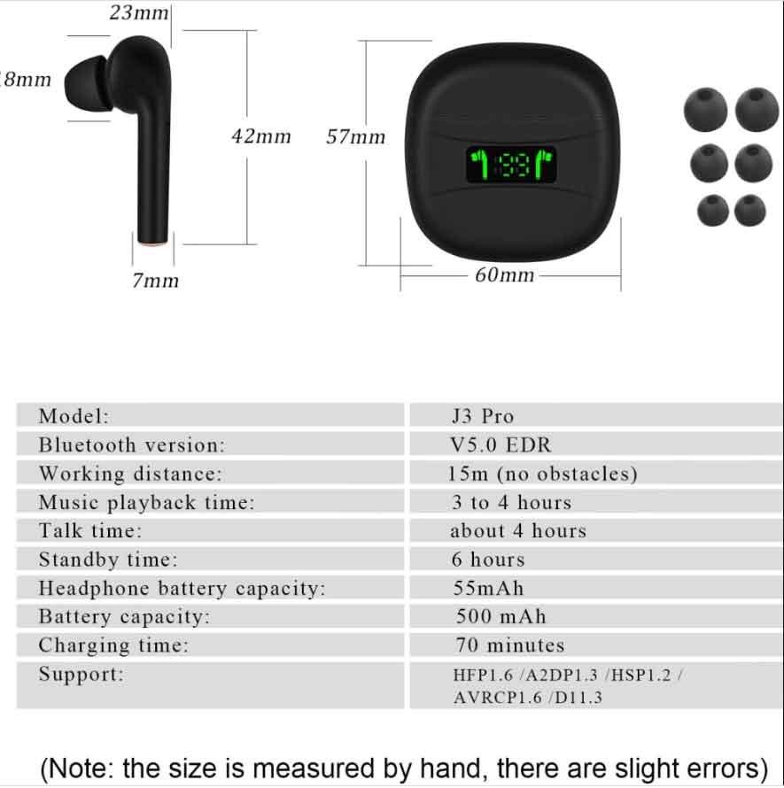 Thông số kỹ thuật tai nghe không dây TWS J3 Pro