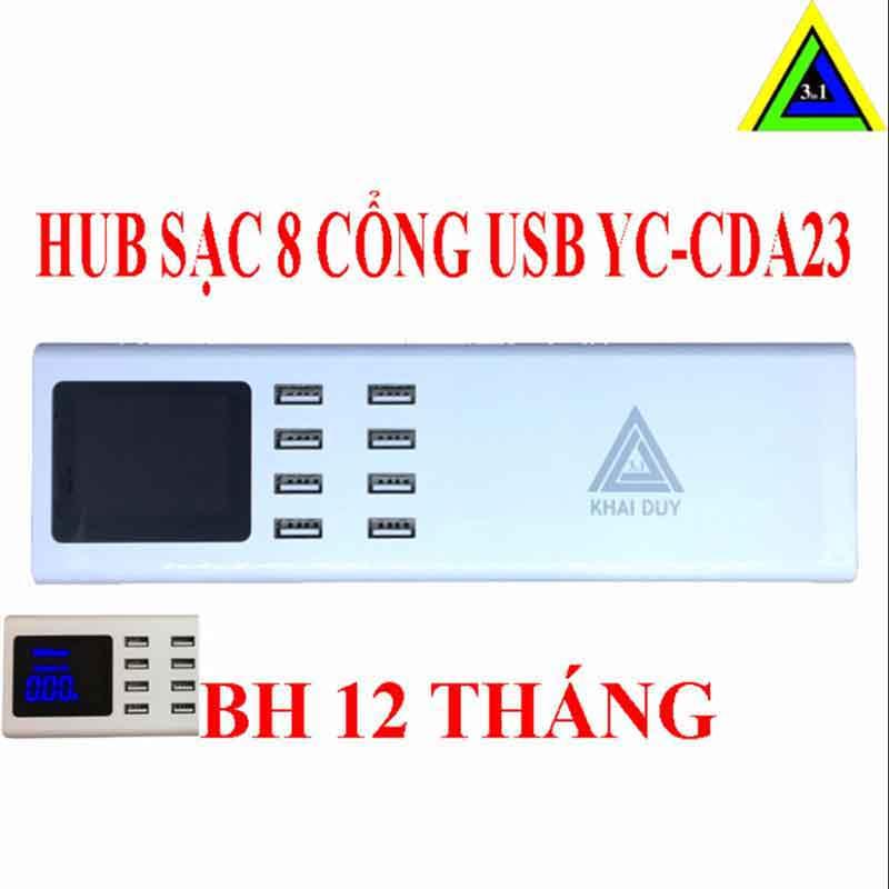 Trạm sạc điện thoại 8 Cổng USB YC CDA23 chính hãng