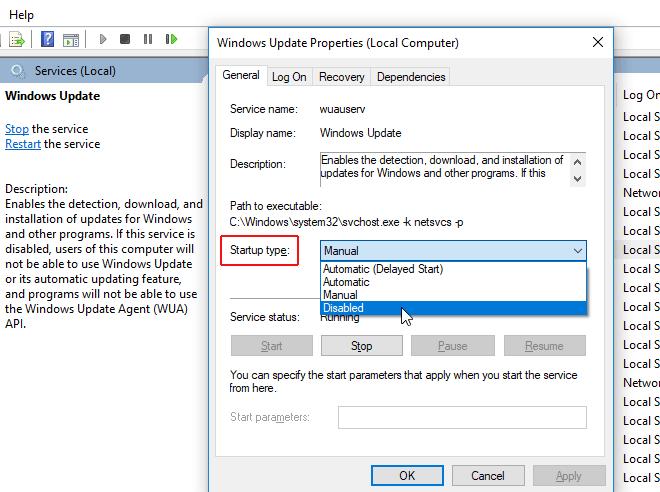 windows update startup type
