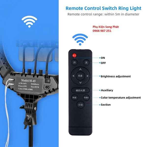 Đèn Livestream loại lớn 45cm có remote