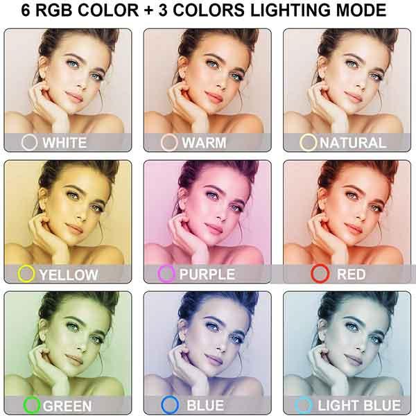 Den livestream RGB LED Soft Ring Light MJ26